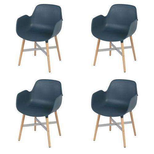 Zestaw 4 krzeseł plastikowe w kolorze ciemnoniebieskim - Codo
