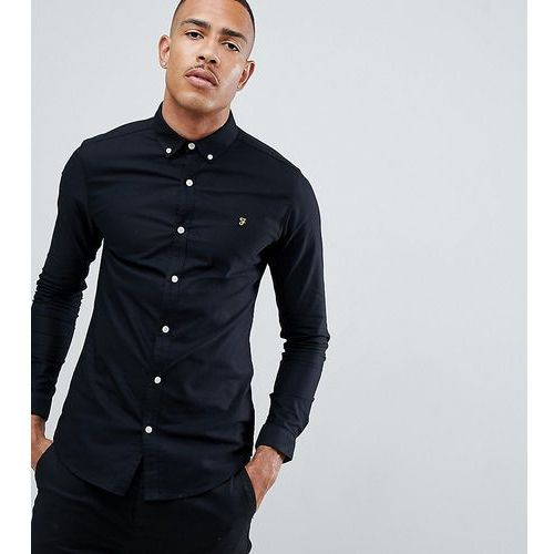 Farah sansfer skinny fit oxford shirt in black exclusive at asos - black