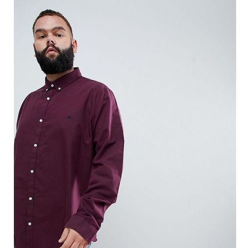 River Island Big & Tall regular fit oxford shirt in burgundy - Red, kolor czerwony