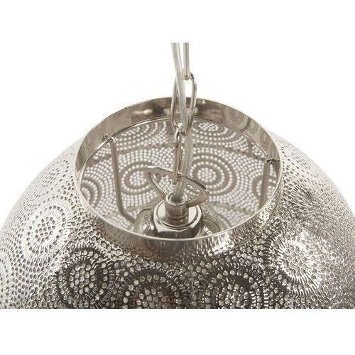 Beliani Lampa wisząca metalowa srebrna maringa (4260624111148)