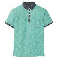 Shirt polo z kołnierzykiem z tkaniny zielony melanż marki Bonprix