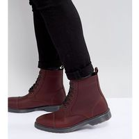 Asos wide fit lace up boots in burgundy leather with ribbed sole - red