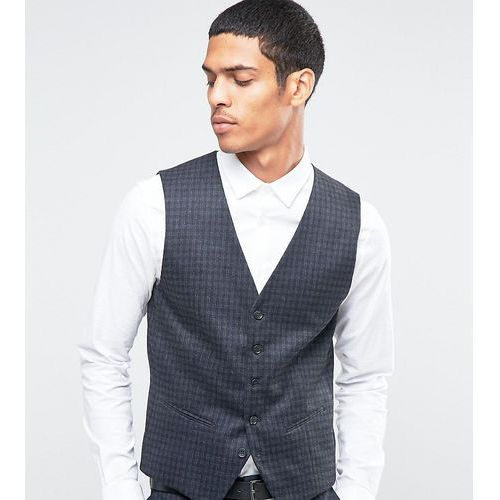 suit waistcoat with brushed tonal check in skinny fit - grey, Selected homme