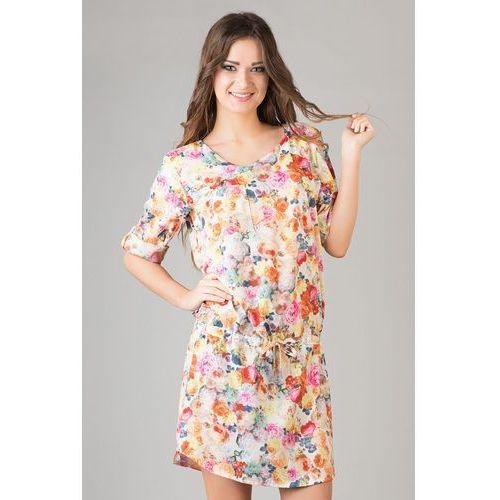 Kwiatowa Casualowa Letnia Sukienka z Troczkami z Podpinanym Rękawem, kolor różowy