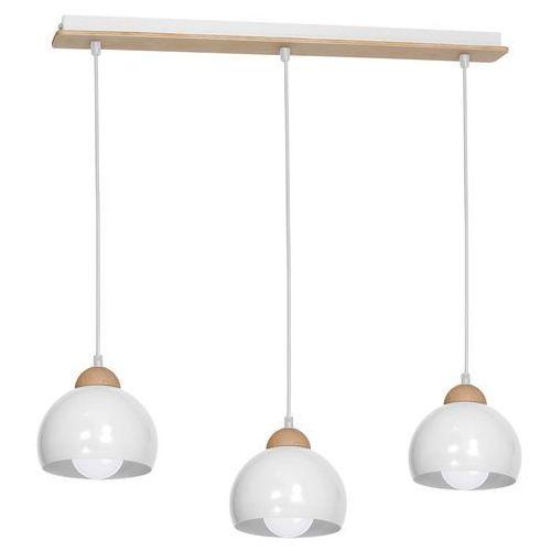 Milagro Lampa oprawa wisząca zwis montana 3x60w e27 biała / drewno 818 wyprzedaż ostatnie sztuki!!!