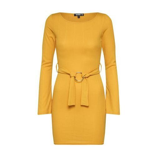 sukienka 'ribbed o ring belted mini dress' musztardowy, Missguided, 34-42