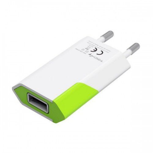 Techly ładowarka sieciowa slim usb 230v-5v 1a biało-zielona (8051128100044)