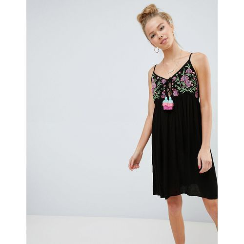 cami dress with embroidered panel and tassle ties - black marki Glamorous