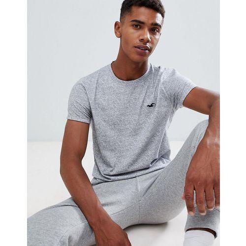 Hollister solid curved hem t-shirt seagull logo slim fit in grey - Grey