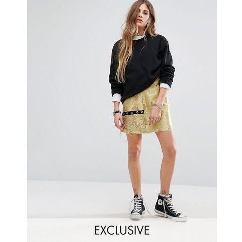 Reclaimed Vintage Mini Skirt In Brocade With Eyelet Detail - Yellow, kup u jednego z partnerów