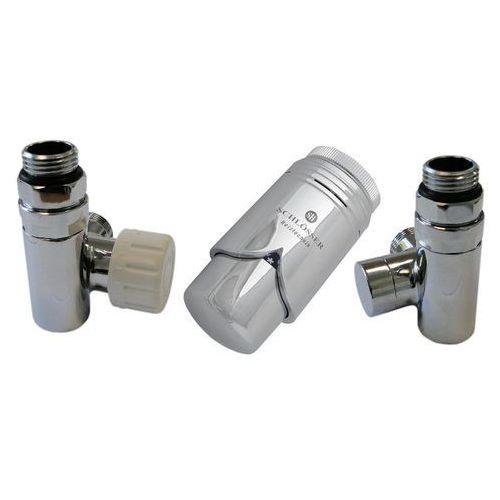 Zestaw zaworów przystosowany do montażu grzałki elektrycznej chrom lewy rodzaj złączki: miedź 15x1 marki Schlosser