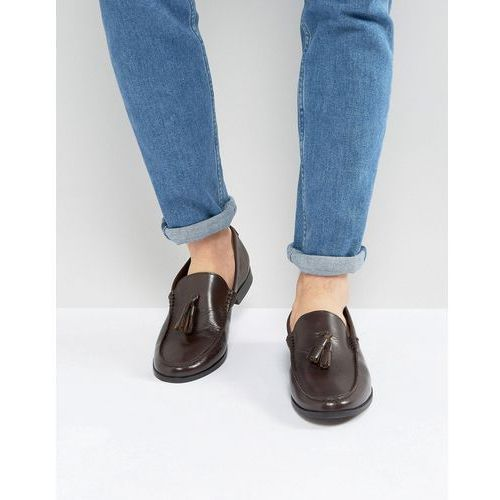 Frank wright tassel loafers in brown leather - black
