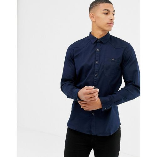 Tom Tailor slim fit utility shirt with pockets in black - Black
