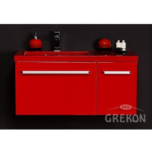 Czerwona szafka wisząca z umywalką 90/39LCZ seria Fokus CZ, kolor czerwony