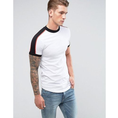 ASOS Extreme Muscle Longline T-Shirt With Curve Hem And Shoulder Panels - White, 1 rozmiar