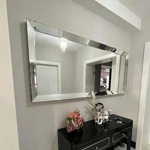 Srebrne lustro glamour prostokątne 80x120 cm m-0517-03 marki Bellacasa