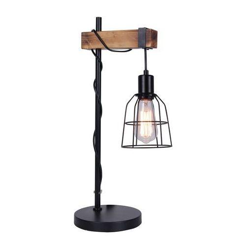 Biurkowa LAMPKA retro PONTE TB-4290-1 Italux stojąca LAMPA stołowa industrialna klatka drewno czarna