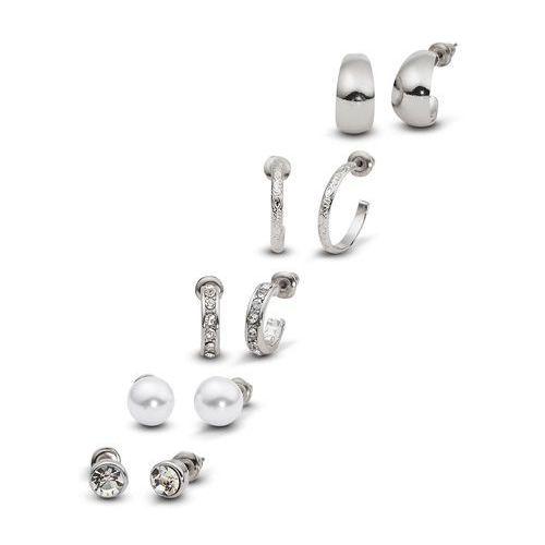 Komplet kolczyków (10 części) srebrny kolor marki Bonprix