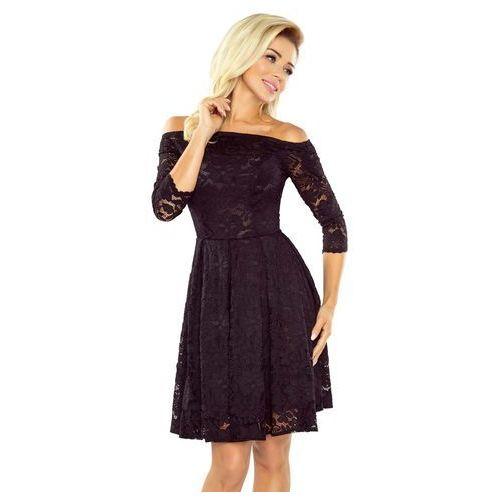 Numoco Czarna sukienka rozkloszowana koronkowa z szerokim dekoltem