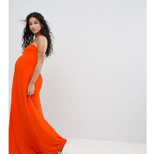 beach bandeau maxi dress - red marki Asos maternity