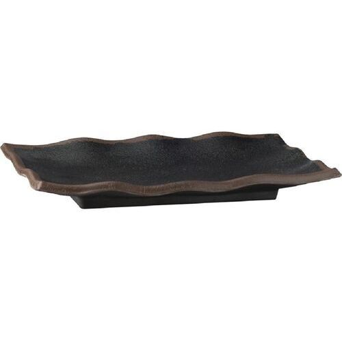 Aps Czarny melaminowy półmisek z falistą krawędzią marone 225x 150mm