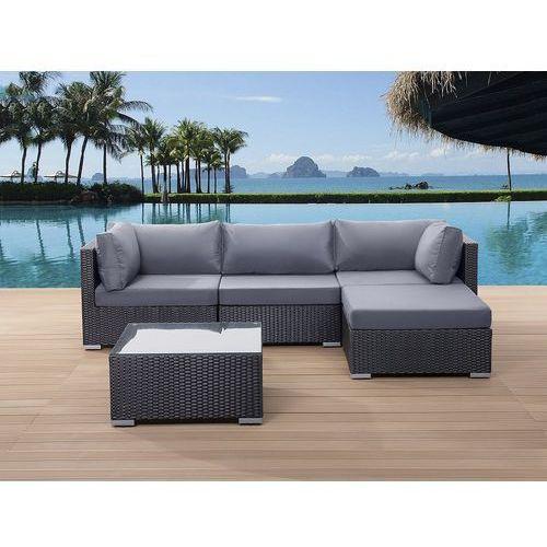 Meble ogrodowe czarne - rattanowe - sofa rattanowa - sano marki Beliani