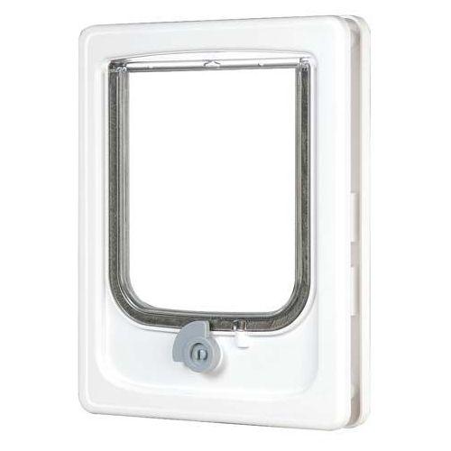 Białe drzwi dla kota i średniego psa marki Zolux