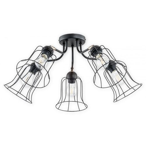 Lemir ksenia o2735 w5 cza plafon lampa sufitowa żyrandol 5x60w e27 czarny mat (5902082867081)