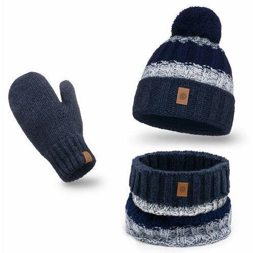 Ciepły komplet , czapka, komin i rękawiczki - granatowy marki Pamami