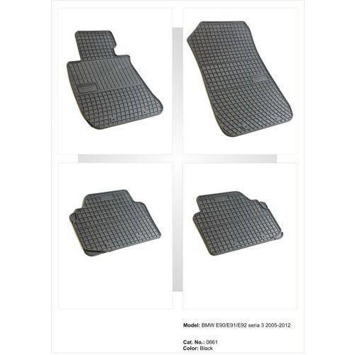 Dywaniki gumowe czarne z kompletem stoperów - BMW Seria 3 (E90/91/92) 2006-2012, 5907377540892