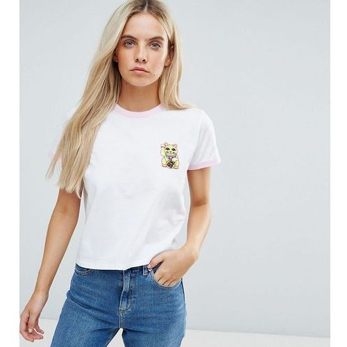 t-shirt with lucky cat print and contrast trim - white, Asos petite
