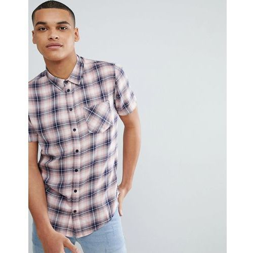 pink check short sleeve shirt - pink, Another influence, XS-M