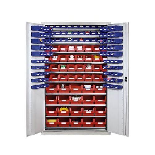 Szafa o dużej pojemności z blachy stalowej, z 10 półkami, 165 przejrzystych skrz marki Eurokraft