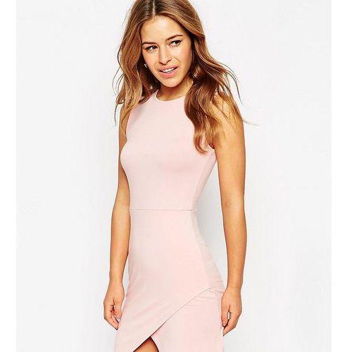 ASOS PETITE Asymmetric Sleeveless Bodycon Dress - Pink, kolor różowy