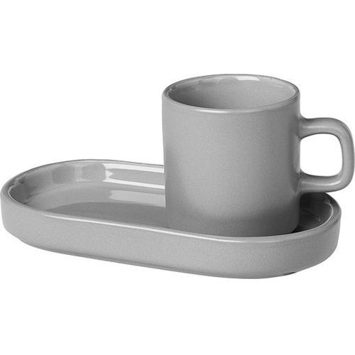 Blomus 2 filiżanki do espresso ze spodkiem mirage grey