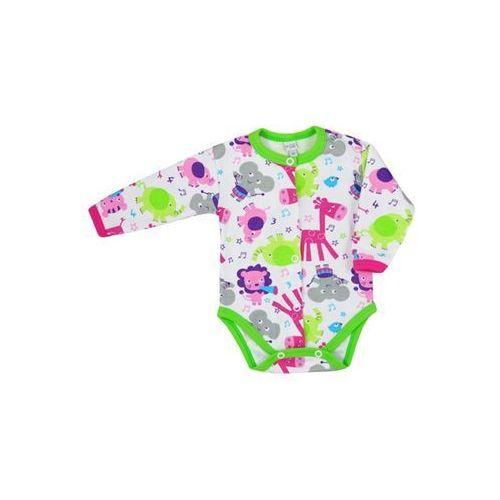 Body z długim rękawem Bobas Fashion Zoo zielonie dla dziewczynek