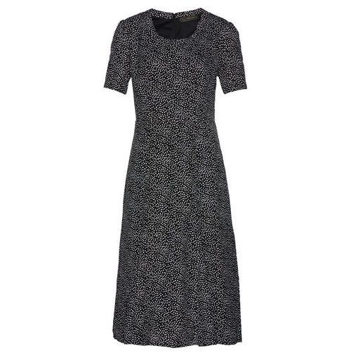 Sukienka wieczorowa bonprix ciemnoniebiesko-biały + czerwony, kolor czarny