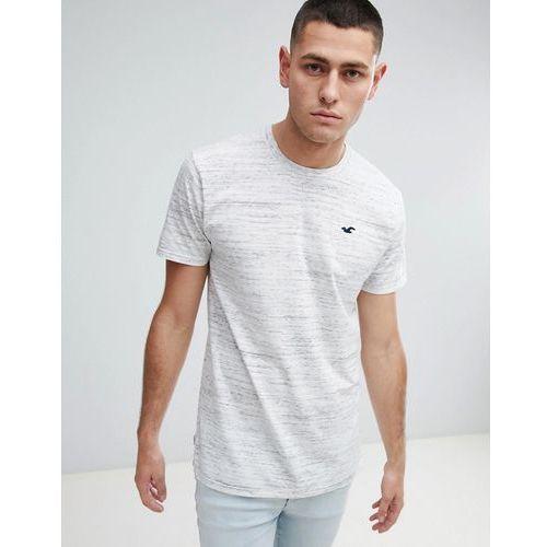Hollister Longline Crew Neck T-Shirt Seagull Logo in White Marl - White, kolor biały