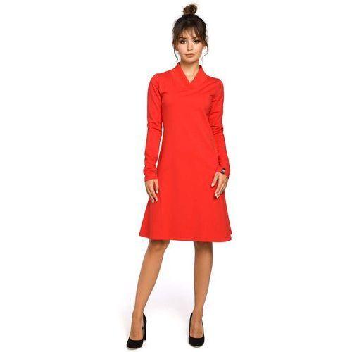Czerwona sukienka z długim rękawem, Moe, 36-44