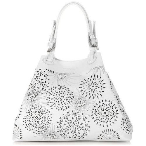 modne ażurowane torby skórzane w rozmiarze xxl uniwersalne i na każda okazję białe (kolory) marki Vittoria gotti