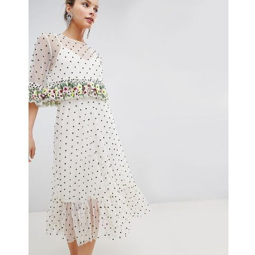 1e5c4c5b42 midi dress with floral ruffles and all o.
