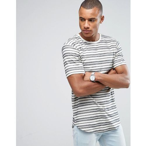 Only & sons  longline t-shirt with curved hem and textured stripe - white