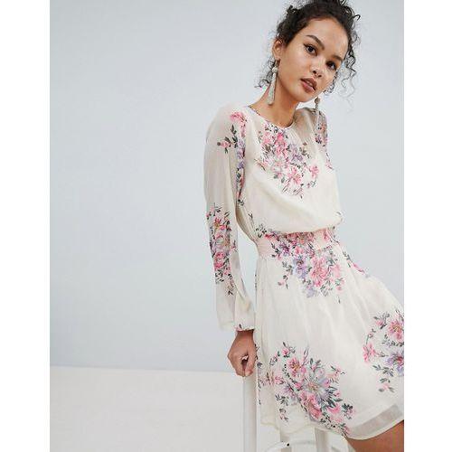 Miss Selfridge High Neck Floral Mini Dress - Black
