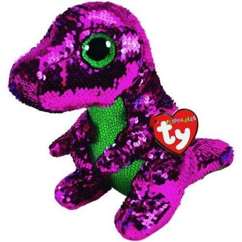 Ty inc Maskotka beanie boos flippables stompy - różowy zielony dinozaur z cekinami 28 cm (0008421364312)