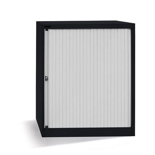 Szafka z roletami Euro, szer. 800 mm, 2 półki, czarny / jasnoszary. Komplet z pó