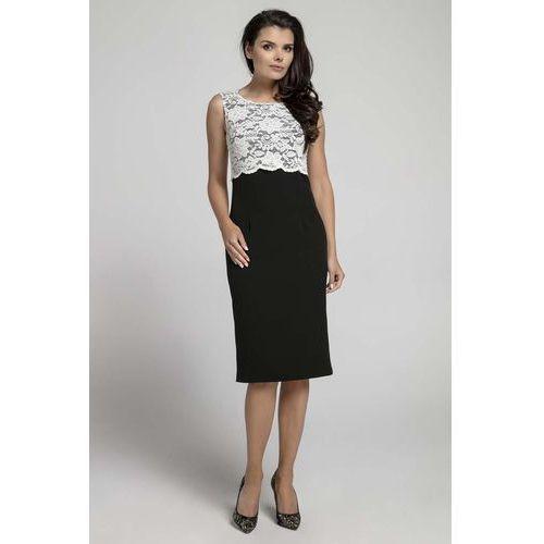Czarna ecru elegancka dopasowana sukienka bez rękawów z koronką marki Nommo