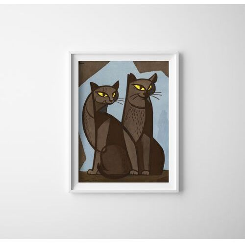 Vintageposteria.pl Plakaty w stylu retro plakatyw stylu retro koty autorstwa tomoo inagaki