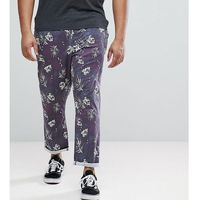 ASOS PLUS Slim Cropped Trousers In Vintage Washed Out Leaf Print - Navy, kolor szary