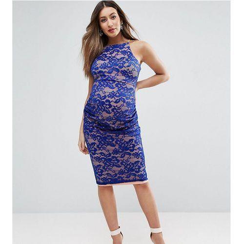 ASOS Maternity Lace High Neck Midi Dress With Wrap Skirt Dress - Blue, kolor niebieski