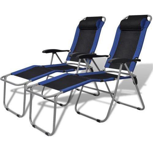 Vidaxl krzesła kempingowe rozkładane, 2 szt., niebiesko-czarne